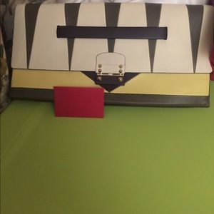 Valentino Mike Clutch Colorblock Leather